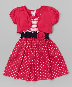 Look at this Fuchsia Polka Dot Dress & Shrug - Toddler & Girls on #zulily today!