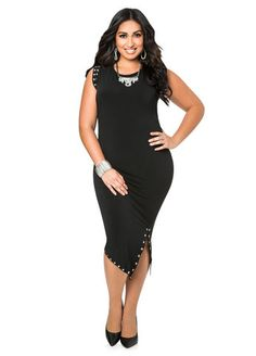 Studded Front Slit Dress Ashley Stewart