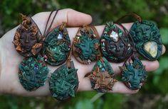 #Nature #spirit #pendants #goddess #Greenman #pixie #fairy #clay #gemstone…
