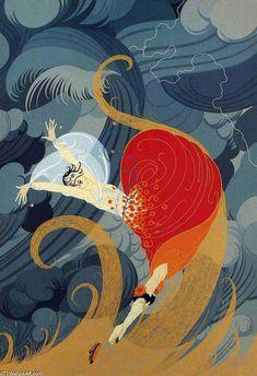 ☮ American Hippie Dance ~ Art Classics by Erte. Art Deco - Swept Away Estilo Art Deco, Arte Art Deco, Art Deco Artists, Art Deco Illustration, Art Nouveau, Art Amour, Erte Art, Art Deco Stil, Inspiration Art