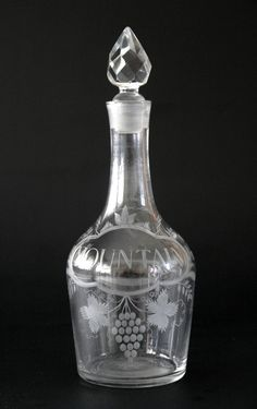 4080 A Fine Shouldered Decanter Engraved MOUNTAIN — Georgian Decanters 1680 -1830 — Butlers Antiques