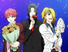 Sasori & Itachi are giving flowers and Dei offers his art ahh adorable <3 I like homemade gifts anyways Deidara.