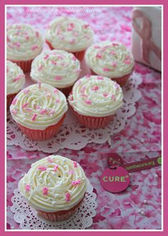 Breast Cancer Awareness Cupcakes in honor of my Gram.  Delicious and moist with strawberry jello for the pink! by whatscookingwithruthie.com #recipes #cupcakes