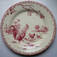 RARE-Old-French-Art-Nouveau-Majolica-Plate-signed-GIEN-Pink-Rooster-and-Hen
