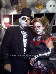 First Place Homemade Dia de Los Muertos Couples Costume... Coolest Halloween Costume Contest