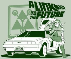 "Fan art of a crossover between Zelda and ""Back to the Future"".  LOL!  I love it!  It's a parody of ""A Link to the Past""."