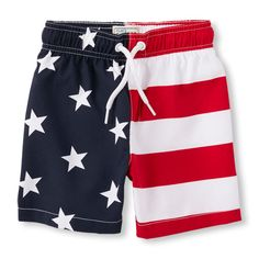 Baby Boys Toddler Boys Stars And Stripes Swim Trunks - Red - The Children's Place