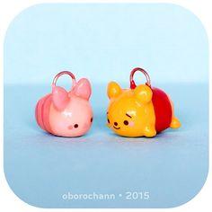 Polymer Clay Boron Bun Pooh & Piglet Disney Tsum Tsums by Oborochann
