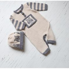 Lil Hoot, Onesie / romper with matching hat P084 Knitting pattern by OGE Knitwear Designs