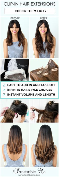 Get long hair in less than 5 minutes with Irresistible Me 100% human Remy clip-in hair extensions. The before and after change is totally awesome and nobody will know you're wearing hair extensions. Can be cut, dyed and heat styled. Worldwide delivery, free exchanges and returns. Big Spring Sale on site between March 18 - March 27, 2016.