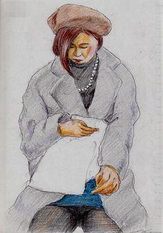 茶色のベレー帽のお姉さん(通勤電車でスケッチ)This is a woman of sketch wearing a brown beret. I drew in a commuter train.
