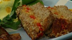 """Vegan Cashew and Quinoa Nut Loaf by Laura Theodore...it's delicious and has a fun """"cheese"""" and vegetable filling!"""
