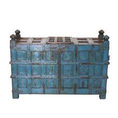 Antique Blue Painted Jodhpur Cabinet
