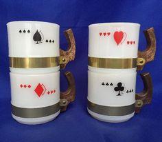 VTG Milk Glass Playing Card Mugs By Siesta Ware MCM Stackable Red Black Bridge #SiestaWare #PlayingCards