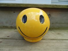 McCOY Pottery SMILEY Happy FACE Bank w/ by OurVintageHouse on Etsy