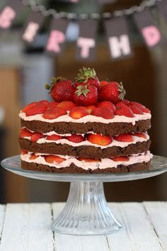 The Spunky Coconut: Happy Birthday Zoe & Ashley: Divine Vegan Fudge Cake with Strawberry Coconut Frosting & Fresh Strawberries -  from The Spunky Coconut Grain-Free Baked Goods and Desserts #vegan #glutenfree
