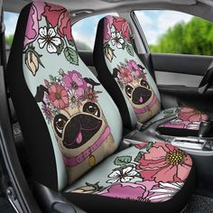 Obsessed with your furry friend and floral? Keep that bond with these custom car seat covers! Made with high quality polyester micro-fiber fabric. Designed to provide long lasting durability and max comfort. Protect your seats from spills, tearing and fading. Quick and easy installation on most car and SUV bucket style
