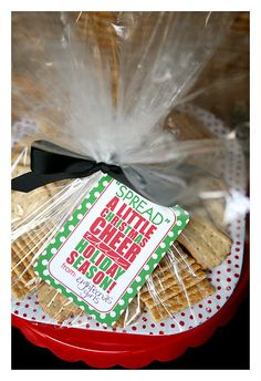 """""""Spread a Little Cheer"""": cheeseball recipe plus this cute FREE tag to add to it. Would be a great gift."""