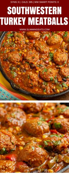 Syn Free Southwestern Turkey Meatballs - delicious turkey meatballs in a amazing spicy Southwestern Style Sauce with black beans, corn and veggies. Gluten Free, Dairy Free, Slimming World and Weight Watchers friendly. Clean Eating, Healthy Eating, Healthy Meals, Turkey Meatball Sauce, Slow Cooker Turkey Meatballs, Spicy Meatballs, Meatball Recipes, Mince Recipes, Beans Recipes