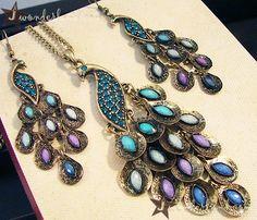 peacock pendant and earrings