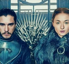 King and Queen in the North Sansa Stark, Game Of Thrones Artwork, Kit Harrington, The North Remembers, House Stark, Fan Art, King, Queen, Games