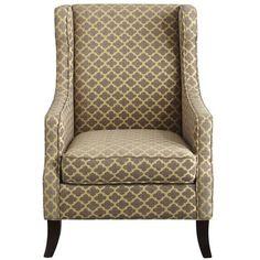 Alec Wing Chair - Gray Trellis