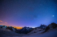 Mont Blanc at night Chamonix, Mountain Climbing, Beautiful Places In The World, Sky And Clouds, National Geographic, Mount Everest, Landscape Photography, Photos, Adventure