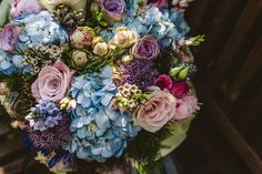 A Story Book Themed Wedding at Hyde Bank Farm. Beautiful pastel wedding bouquet.   Image by Lee Brown Photography.  Read more: http://bridesupnorth.com/2016/08/25/once-upon-a-time-a-story-book-themed-wedding-at-hyde-bank-farm-jessica-rob/  #wedding #flowers