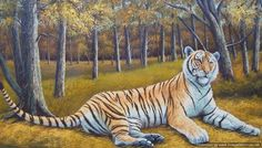 """Oil painting on canvas, hand-painted. A tiger in the woods, by Stobeny. 100% hand-painted. 24"""" x 48 """" size without frame. Vintage 70's, Reproduction. Free shipping worldwide. Price: $149."""