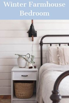 """IN THESE FIRST FEW WEEKS OF FEBRUARY, WE ARE DEFINITELY IN THE """"WAITING FOR SPRING"""" MODE. I TRIED TO ADD CHEER TO THIS DREARY SEASON WITH A LITTLE DECORATING. COME OVER AND TOUR OUR WINTER FARMHOUSE BEDROOM. Winter Bedroom, Christmas Bedroom, Farmhouse Kitchens, Farmhouse Decor, Blue Home Decor, My Sewing Room, Ship Lap Walls, Home Goods, Cheer"""