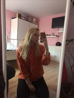 Orange is the new black. Check out my blog http://martynakochanowska.blogspot.com/?m=1 and like my fanpage https://www.facebook.com/dosomethingamazing12/ #ootd #hoody #whitehair #tumblr