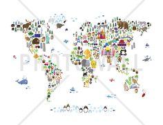 Animal Map of the World - Fototapeter