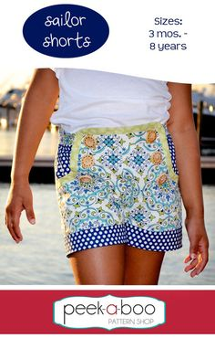 Ahoy! Sailor Shorts are perfect for all of your summer adventures. Classic styling with 3 rows of buttons, accent cuffs and pockets for storing sea shells and other treasures. Flat front with elastic in back to ensure a perfect fit.