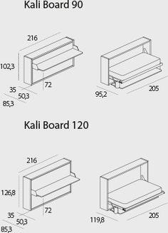 Kali Board - Sistema trasformabile con letto singolo o intermedio a scomparsa e scrivania maxi brevettato.