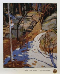 """Group of Seven painter - Tom Thomson - """"Snow And Rocks. Emily Carr, Canadian Painters, Canadian Artists, Abstract Landscape, Landscape Paintings, Group Of Seven Artists, Tom Thomson Paintings, Snow And Rock, Catalogue Raisonne"""