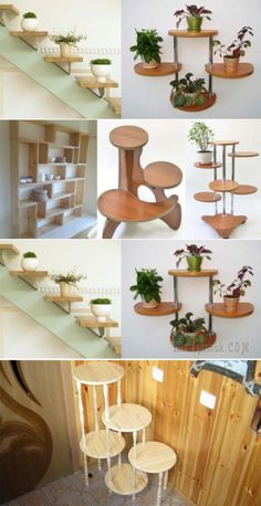 20 DIY Plant Stands That Let You Discover Your Creative thinking Recycled Furniture, Home Decor Furniture, Diy Home Decor, Garden Shelves, Plant Shelves, House Plants Decor, Plant Decor, Wooden Plant Stands Indoor, Wood Display Stand