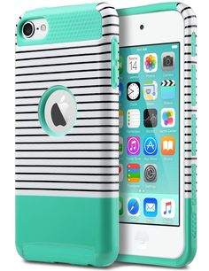 Amazon.com: iPod Touch 6 Case,iPod Touch 5 Case,ULAK [Colorful Series] 2-Piece Style Hybrid Hard Case Cover for Apple iPod touch 5 6th Generation (Minimal Mint Stripes): Cell Phones & Accessories