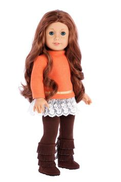 Orange tunic with ivory lace and golden ribbon pared with brown leggings and fringed boots. - Doll outfit contains a wide back closure for easy dressing and clothing removal. - Our doll clothes fits 1