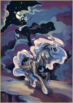 Princess Luna And Nightmare Moon Princesa Celestia, Celestia And Luna, Princess Luna, Mlp My Little Pony, My Little Pony Friendship, Nightmare Moon, Mlp Fan Art, Little Poney, Twilight Sparkle