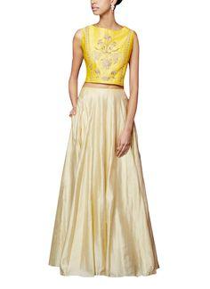 e1160d594b3afb An elegant mustard silk sleeveless crop top adorning Mughal garden inspired  gota patti
