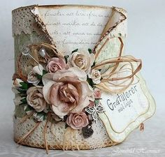 Amazing Ideas To Decoupage Tin Can Planters Tin Can Crafts, Diy And Crafts, Arts And Crafts, Paper Crafts, Coffee Can Crafts, Creative Crafts, Altered Tins, Altered Bottles, Handmade Crafts
