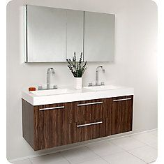 Opulento 54 1/4-inch W Double Sink Vanity in Walnut Finish with Medicine Cabinet