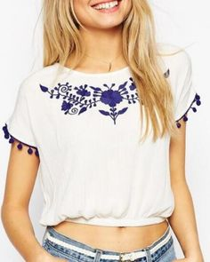 Cropped flower t shirt with embroidery for girls short sleeve with fringe