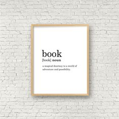 Excited to share this item from my #etsy shop: Book Definition Print // Printable Wall Art // Digital Instant Download