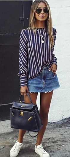 #summer #outfits Striped Top + Denim Skirt + White Pumps