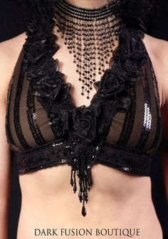 Halter B or D Cup Black and Charcoal Stripe by darkfusionboutique, $92.00