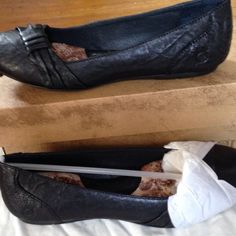 Black Born leather flats Black leather Born flats, never worn, in box. Comfy with good tread. Born Shoes Flats & Loafers