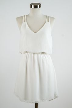Greek goddess sunbathing spring golden strappies Double Strap White Sun Dress