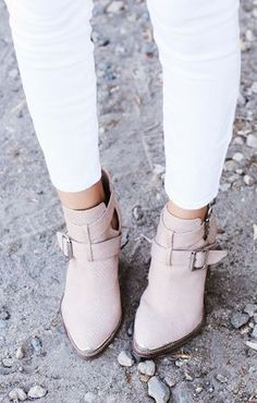 Blush Ankle Boots and White Skinnies