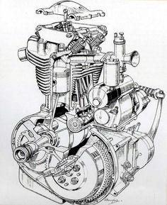 Racing Car Design, Bike Design, Motorcycle Engine, Motorcycle Art, Honda Motorcycle Parts, Side Car, Bike Drawing, Coloring Book Art, Triumph